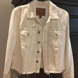 Lucky brand white distressed jean jacket
